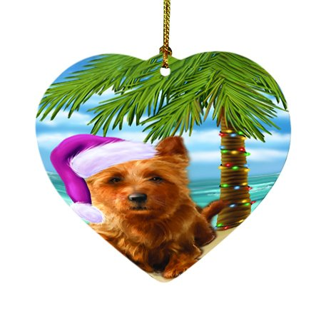 Summertime Happy Holidays Christmas Australian Terriers Dog on Tropical Island Beach Heart Ornament D419