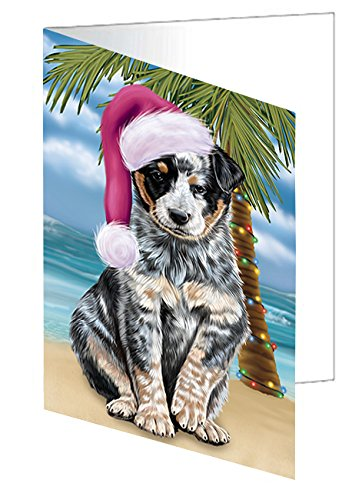 Summertime Happy Holidays Christmas Australian Cattle Dog on Tropical Island Beach Greeting Card
