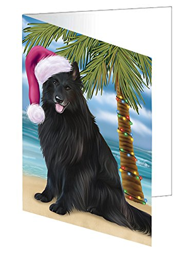 Summertime Happy Holidays Christmas Belgian Shepherds Dog on Tropical Island Beach Greeting Card