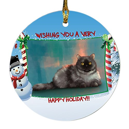 Selkirk Rex Cat Round Snowman Christmas Ornament
