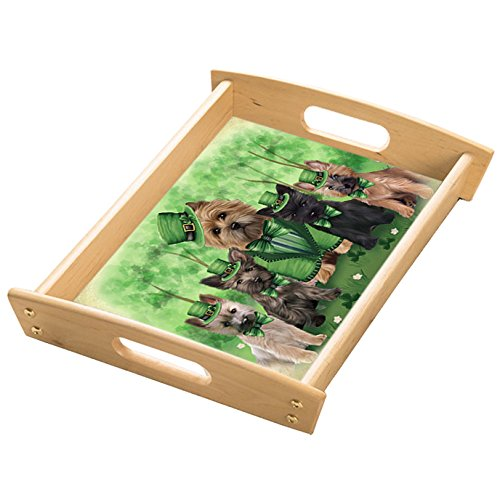 St. Patricks Day Irish Family Portrait Cairn Terriers Dog Wood Serving Tray with Handles Natural TRA48181