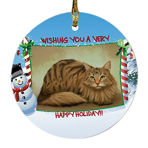 Siberian Cat Round Snowman Christmas Ornament