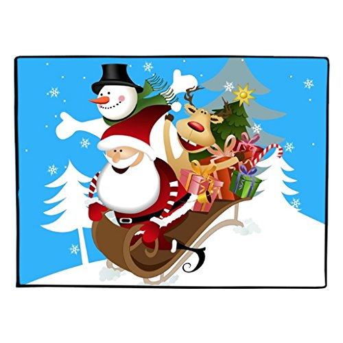 Sledding Santa, Reindeer and Snowman Christmas Floormat 18 x 24
