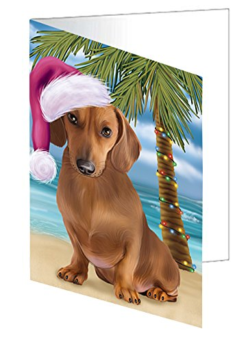Summertime Christmas Happy Holidays Dachshund Dog on Beach Greeting Card GCD3145