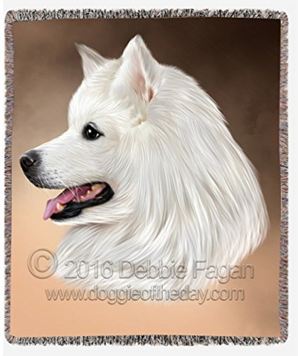 Samoyed Dog Art Portrait Print Woven Throw Blanket 54 X 38
