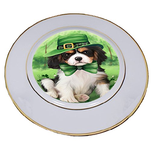 St. Patricks Day Irish Portrait Cavalier King Charles Spaniel Dog Porcelain Plate PLT48771