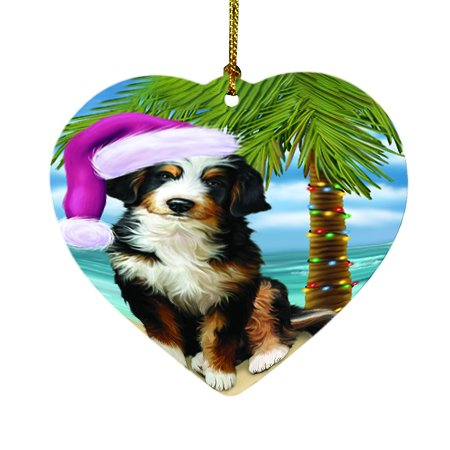 Summertime Happy Holidays Christmas Bernedoodle Dog on Tropical Island Beach Heart Ornament D424
