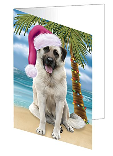 Summertime Happy Holidays Christmas Anatolian Shepherds Dog on Tropical Island Beach Note Card