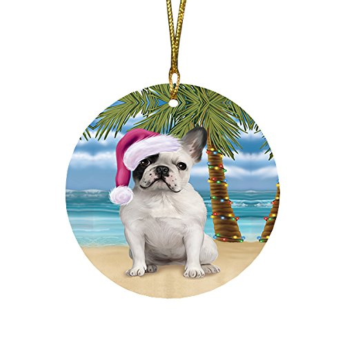 Summertime French Bulldog on Beach Christmas Round Flat Ornament POR1674