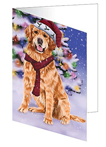 Winterland Wonderland Golden Retrievers Dog In Christmas Holiday Scenic Background Greeting Card