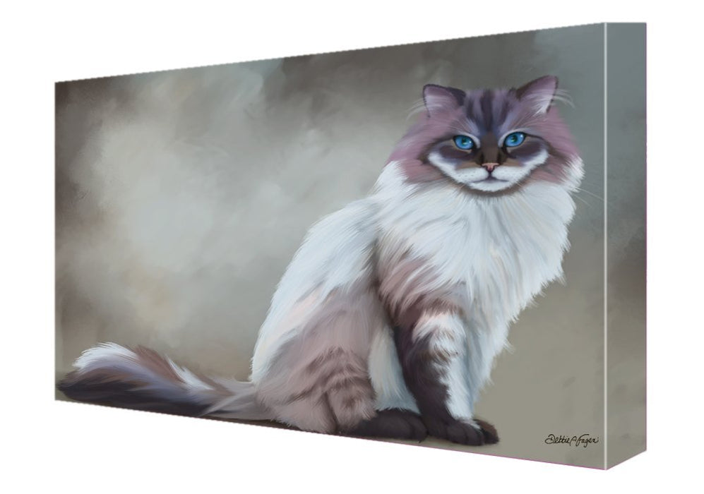 Seal Mitted Lynx Ragdoll Cat Painting Printed on Canvas Wall Art Signed