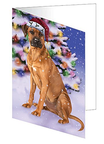 Winterland Wonderland Rhodesian Ridgebacks Dog In Christmas Holiday Scenic Background Greeting Card
