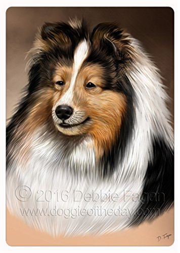 Sheltie Dog Art Portrait Print Tempered Cutting Board
