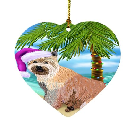 Summertime Happy Holidays Christmas Berger Picard Dog on Tropical Island Beach Heart Ornament D423