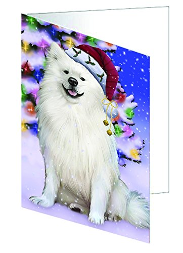 Winterland Wonderland American Eskimo Dog In Christmas Holiday Scenic Background Greeting Card