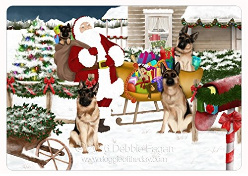 Santa With German Shepherd Dogs and Gifts Tempered Cutting Board