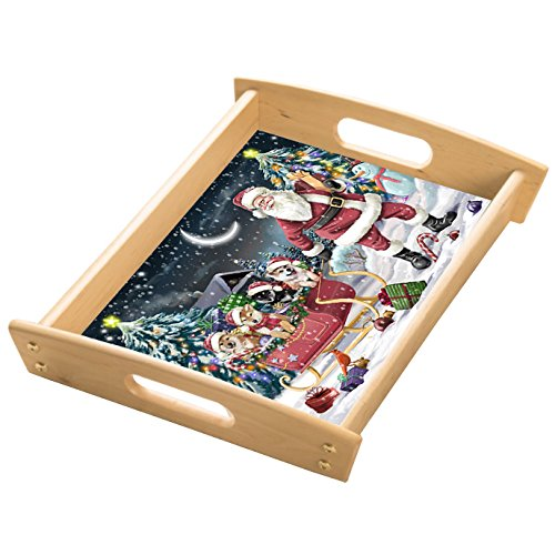 Santa Sled Dogs Shiba Inu Christmas Wood Serving Tray with Handles Natural WST0383