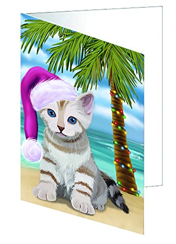 Summertime Happy Holidays Christmas Bengal Cat on Tropical Island Beach Greeting Card
