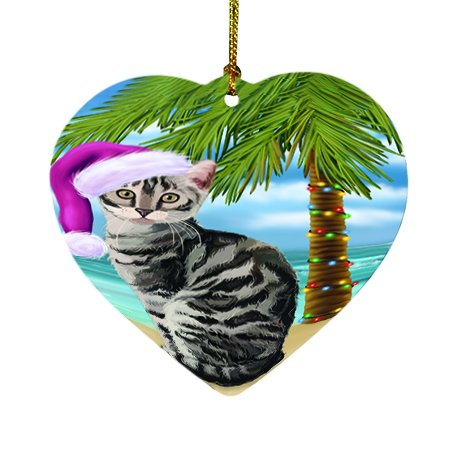 Summertime Happy Holidays Christmas Bengal Cat on Tropical Island Beach Heart Ornament D422