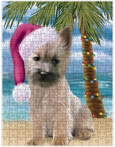 Summertime Happy Holidays Christmas Cairn Terrier Dog on Tropical Island Beach Puzzle with Photo Tin