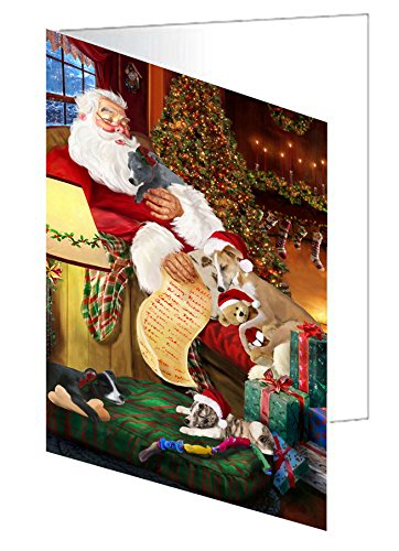 Whippet Dog and Puppies Sleeping with Santa Greeting Card