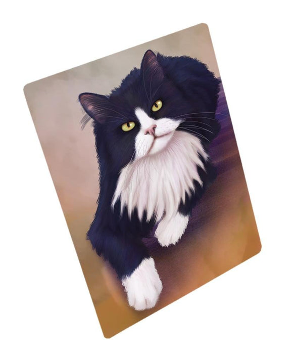 Tuxedo Black And White Cat Art Portrait Print Woven Throw Sherpa Plush Fleece Blanket