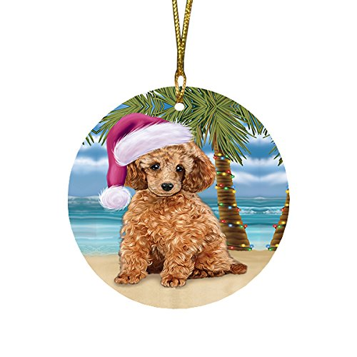 Summertime Poodle Dog on Beach Christmas Round Flat Ornament POR1741
