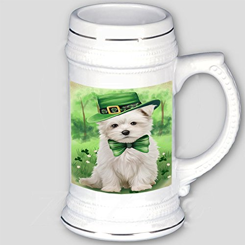 St. Patricks Day Irish Portrait Maltese Dog Beer Stein BST480697