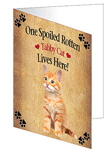 Spoiled Rotten Tabby Cat Note Card