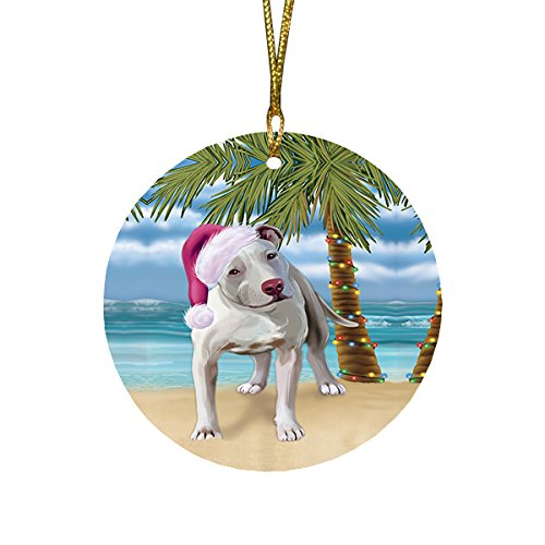 Summertime Pit Bull Dog on Beach Christmas Round Flat Ornament POR1721