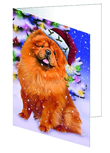 Winterland Wonderland Chow Chow Dog In Christmas Holiday Scenic Background Greeting Card