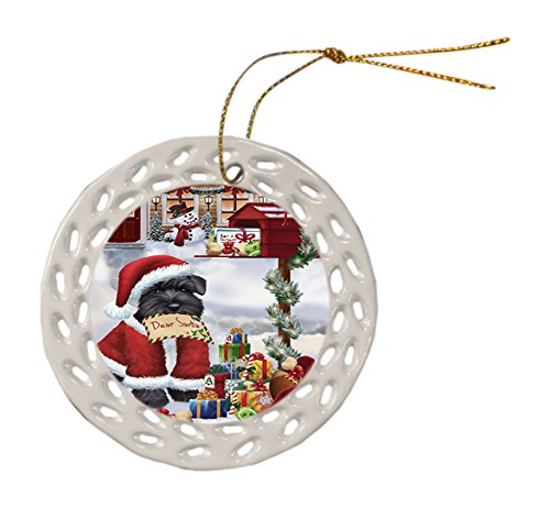 Schnauzer Dog Christmas Doily Ceramic Ornament