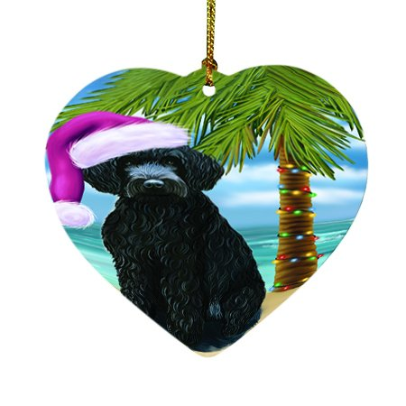 Summertime Happy Holidays Christmas Barbets Dog on Tropical Island Beach Heart Ornament D420