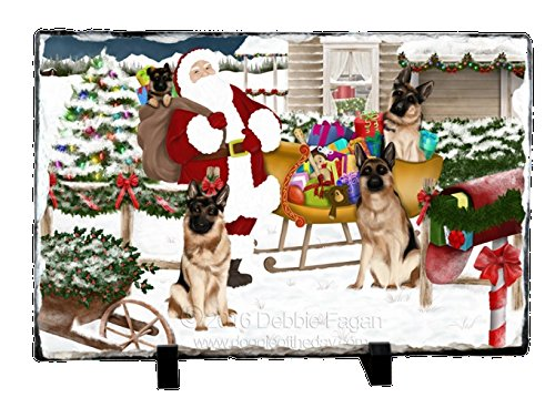 Santa With German Shepherd Dogs and Gifts Photo Slate