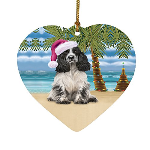 Summertime Cocker Spaniel Dog on Beach Christmas Heart Ornament POR2201