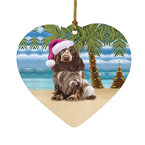 Summertime Cocker Spaniel Dog on Beach Christmas Heart Ornament POR2205