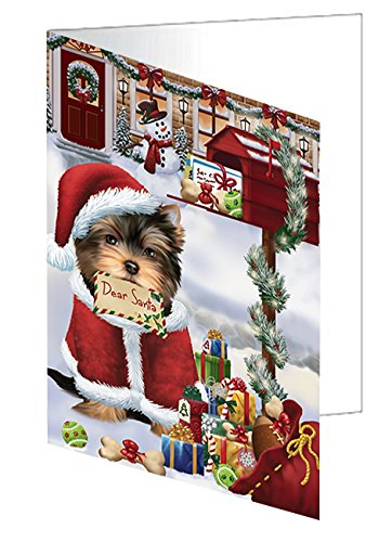 Yorkshire Terriers Dear Santa Letter Christmas Holiday Mailbox Dog Greeting Card