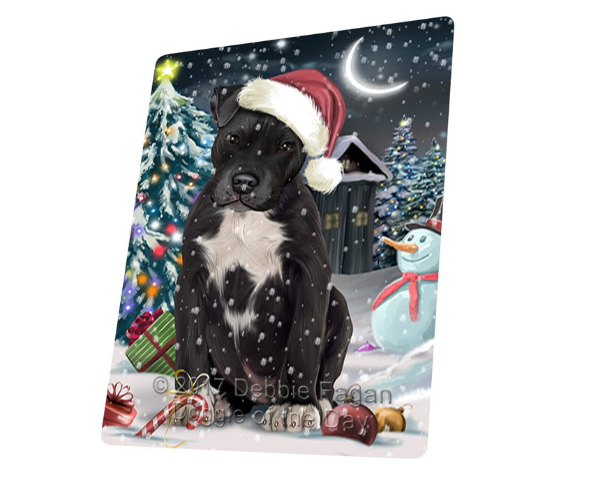 "Have A Holly Jolly Christmas Pit Bull Dog In Holiday Background Magnet Mini (3.5"" x 2"") D107"