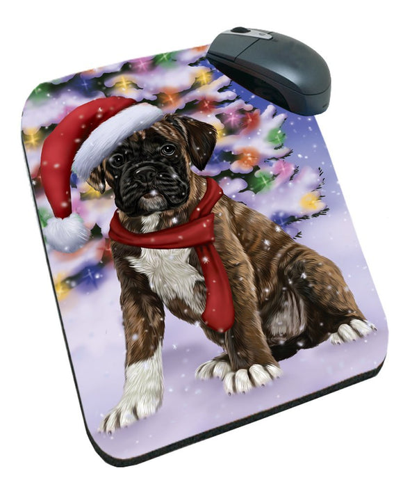 Winterland Wonderland Boxers Dog In Christmas Holiday Scenic Background Mousepad