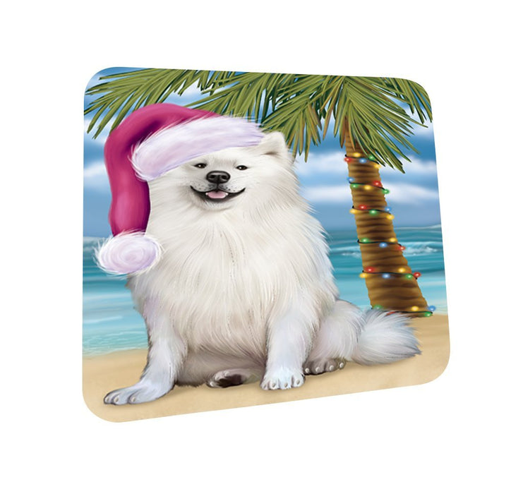 Summertime American Eskimo Adult Dog on Beach Christmas Coasters CST405 (Set of 4)