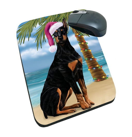 Summertime Happy Holidays Christmas Doberman Dog on Tropical Island Beach Mousepad