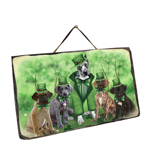 St. Patricks Day Irish Family Portrait Great Danes Dog Wall Décor Hanging Photo Slate SLTH48810
