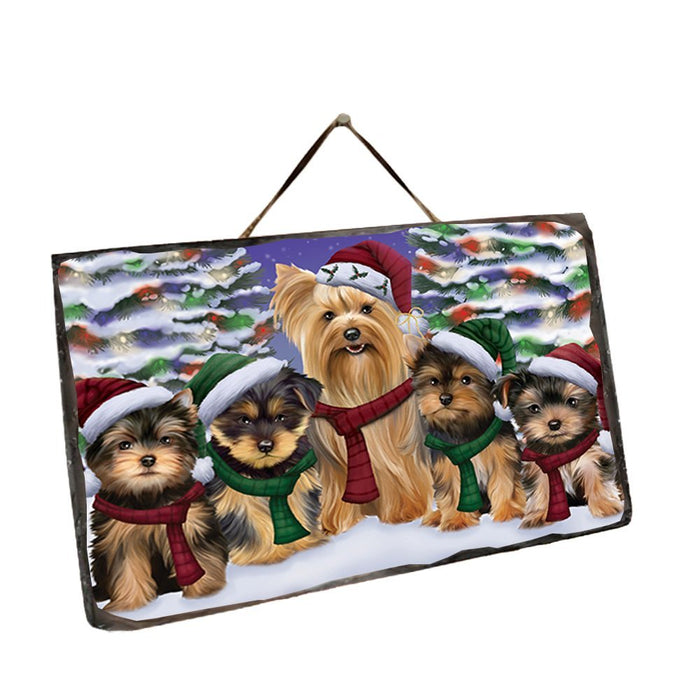 Yorkshire Terriers Dog Christmas Family Portrait in Holiday Scenic Background Wall Décor Hanging Photo Slate