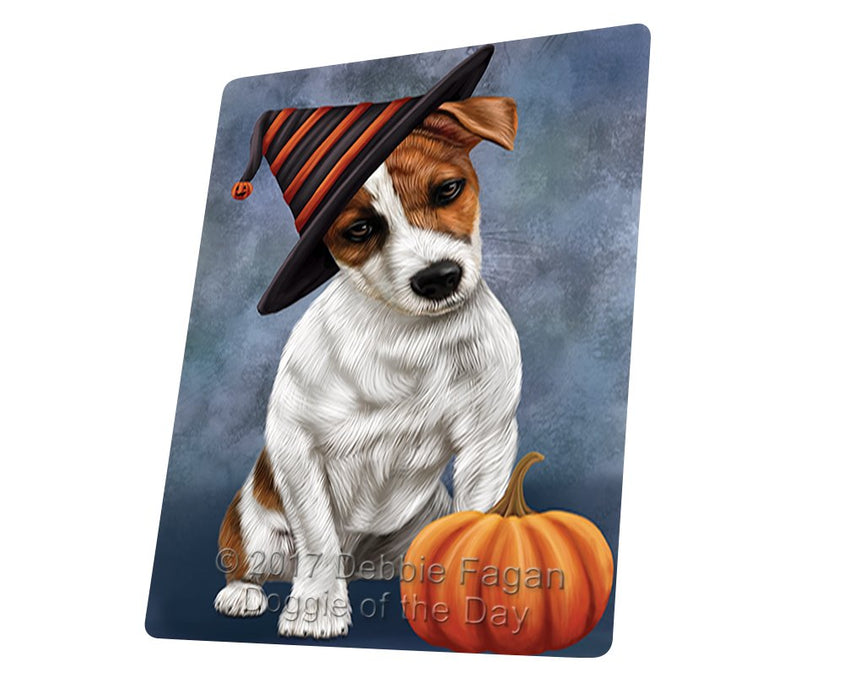 "Happy Halloween Jack Russel Dog Wearing Witch Hat With Pumpkin Magnet Mini (3.5"" x 2"")"