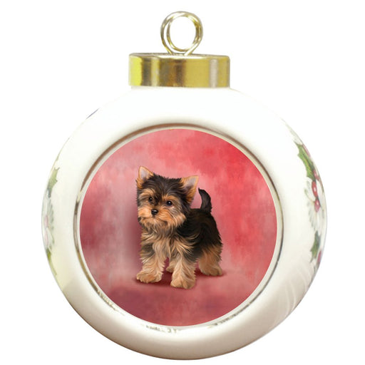 Yorkshire Terriers Dog Round Ceramic Christmas Ornament