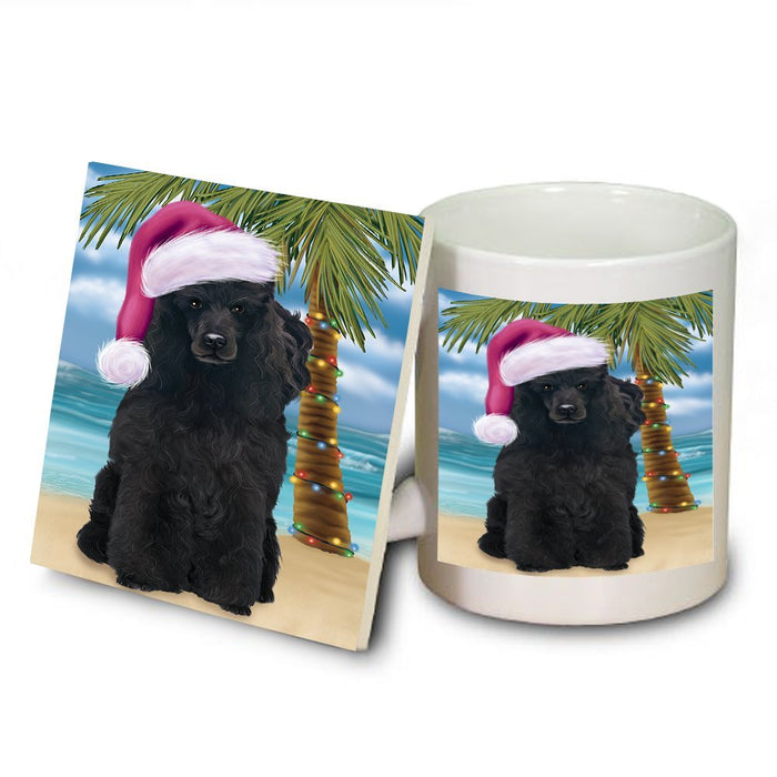 Summertime Poodle Dog on Beach Christmas Mug and Coaster Set MUC0695