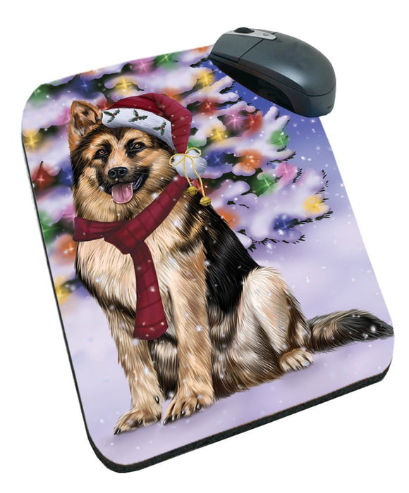 Winterland Wonderland German Shepherds Dog In Christmas Holiday Scenic Background Mousepad