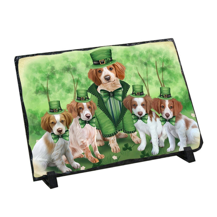 St. Patricks Day Irish Family Portrait Brittany Spaniels Dog Photo Slate SLT48743