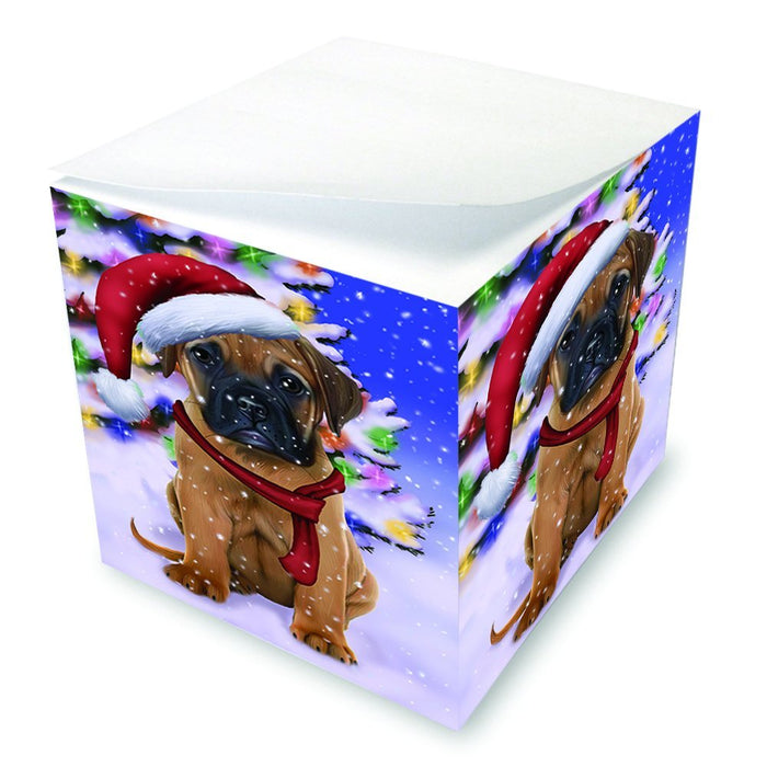 Winterland Wonderland Bullmastiff Dog In Christmas Holiday Scenic Background Note Cube