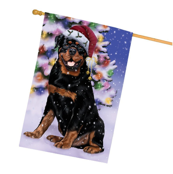 Winterland Wonderland Rottweiler Dog In Christmas Holiday Scenic Background House Flag